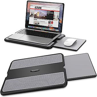 Abovetek portable laptop lap desk w/retractable left/right mouse pad tray, non-slip heat shield tabl