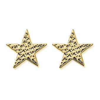 ChloBo GEST3097 Women's Gold Tone Sparkle Star Stud Brincos