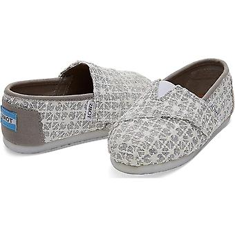 TOMS Kids Baby Girl's Alpargata (Infant/Toddler/Little Kid) Silver Lace Glimm...