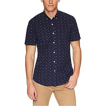Goodthreads Men's Standard-Fit Short-Sleeve Printed Poplin Camicia, Navy Ground...