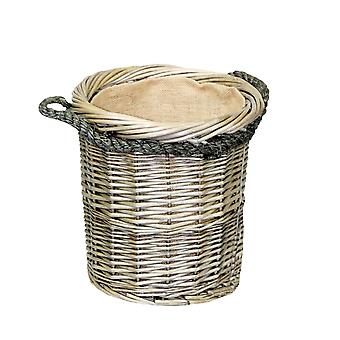 Small Rope Handled Antique Wash Round Log Basket