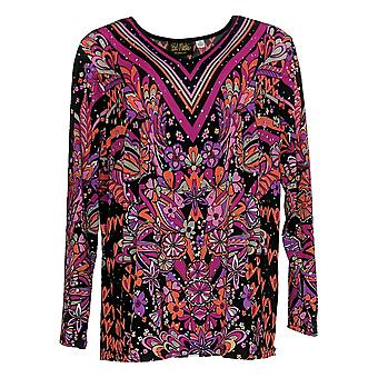 Bob Mackie Women's Plus Top Floral Print Pullover Knit Pink A345600