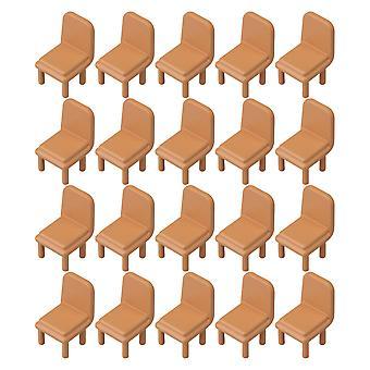20 PCS Dollhouse Miniature Chair 1:75 Brown Chair Environmental Models