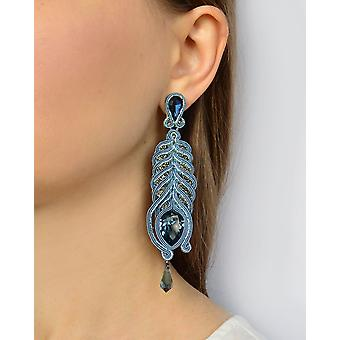 Long Embroidered Earings With Swarovski Stones