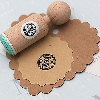 Save the Date Round Rubber Stamp - VERY MINI - Wedding / Craft