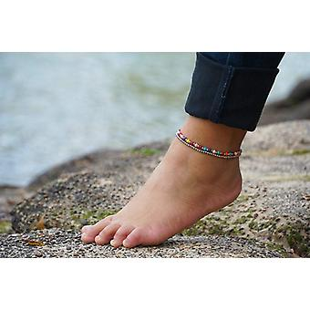 Fancy Dual Band Boho Silver Anklet