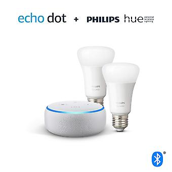 Echo dot (3rd gen), sandstone fabric + philips hue white smart bulb twin pack led (e27) | bluetooth