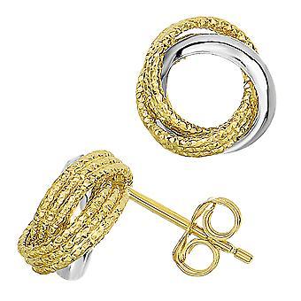 14 k Two Tone gouden glanzend en getextureerde Open Infinity knoop Stud Earrings Stud Earrings, 10mm