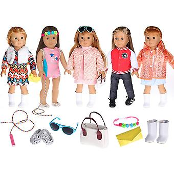 ebuddy Fashion 5 Sets Doll Clothes Accessories Include 2 pairs Shoes,2 Handbags,1 Glasses,1 Rope