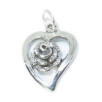 Rose With Heart Sterling Silver Charm .925 X 1 Hearts & Roses Charms - 8424