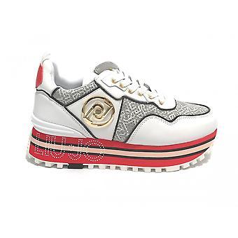 Liu-jo Maxi Wonder Sneaker Shoes In White Leather/ Grey/ Women's Red Ds21lj11