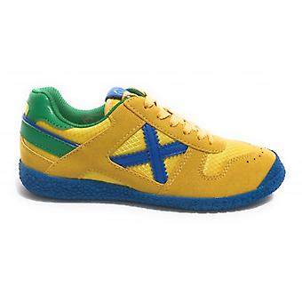 Shoes Baby Munich Sneaker With Leather Mini Goal Laces/Yellow/Blue/Green Fabric 470 Zs20mu07