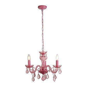 Searchlight Kids 3 lámpara de araña rosa claro, marco de metal, cuentas acrílicas y columna de vidrio
