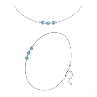 Echte turquoise armband sieraden set gemaakt met swarovski kristallen
