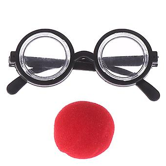 Circular Glass Red Nose Cosplay Costume Glasses Birthday Party Fournitures Décoration Enfants Funny Party Props