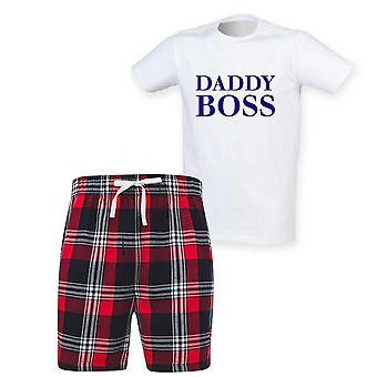 Mens Daddy Boss Tartan Lyhyt Pyjama Setti