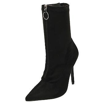 Koi Footwear High Heel Stiletto Mid Calf Boots Pointed Toe Black Suede