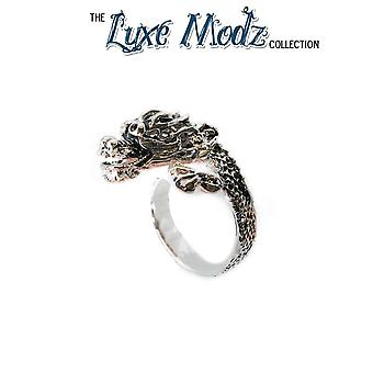 Luxe modz hand carved silver plated dragon ring one size fits most articulated
