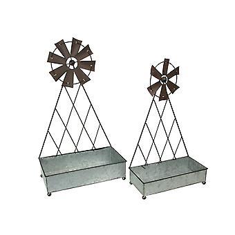 Set of 2 Galvanized Metal Windmill Baskets Rustic Farmhouse Organizer Decor