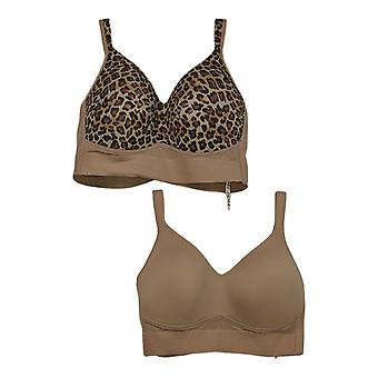 Rhonda Shear 2-Pack Molded Cup Bra With Mesh Back Detail Brown 732406