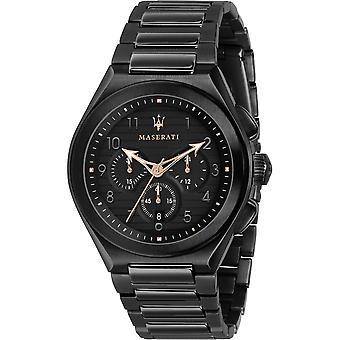Maserati R8873639003 Men's Triconic Black Steel Bracelet Wristwatch