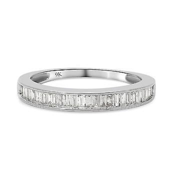 Diamant I3/G-H halbe Ewigkeit Ring für Frau 9K Weißgold SGL zertifiziert 0,84ct
