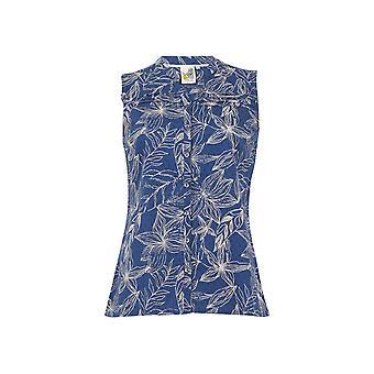 Lazio Organic Cotton Printed Sleeveless Shirt Ensign Blue