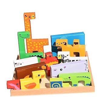 Puslespil Legetøj 2 til 3 4 år Gammel Gave Animal Børnehave Montessori Legetøj