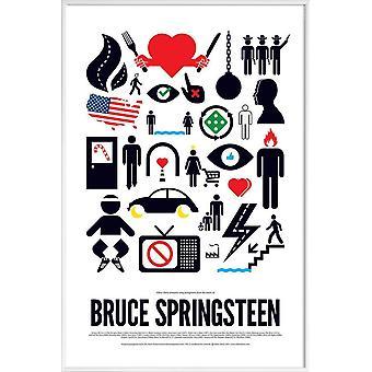 JUNIQE Print -  Bruce Springsteen - Rock Poster in Grün & Rot