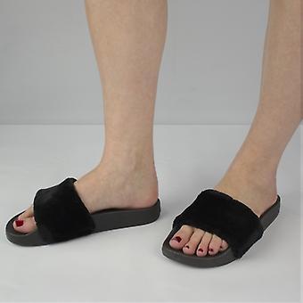 Shumo Tito Ladies Fur Sliders Black