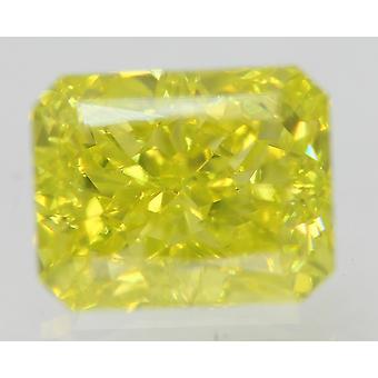 Cert 0.70 Carat Green Yellow VVS2 Radiant Enhanced Natural Diamond 5.09x4.03mm