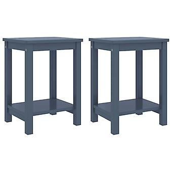 vidaXL yöpöydät 2 kpl. vaaleanharmaa 35x30x47 cm mänty massiivipuu