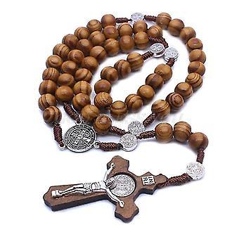 Prayer beads fashion handmade round bead catholic rosary cross religious wood beads men