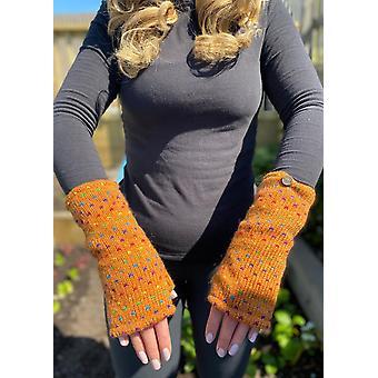 Hand Knitted Woollen Rainbow Tick Wrist Warmers