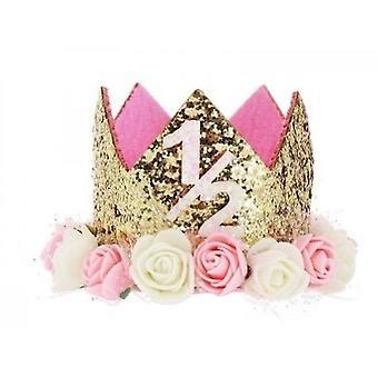 Baby prinses tiara kroon, baby verjaardag hoed (set4)