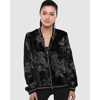 Burnt Out Velvet Printed Bomber Jacket