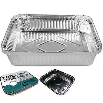 240X aluminium foil containers with lids tray bbq takeaway dish 14cm*12cm*4.5cm