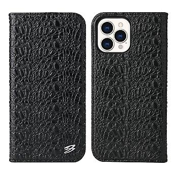 Para iPhone 13 Pro Case Crocodile Pattern Genuine Cow Wallet Leather Cover Negro