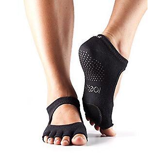 Toesox Half Toe Plie Dance Inspirerade Grip Strumpor Med Läder pad - Svart