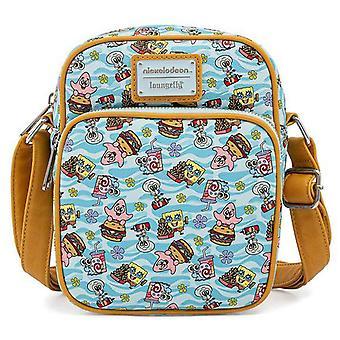 Loungefly Passport Bag Spongebob Gang Patrick Squidward Ny officiell blå