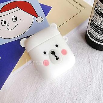 Musical instrument amplifier covers cases cute cartoon 3d silicone earphone case covers for airpods 1 2 whitebear