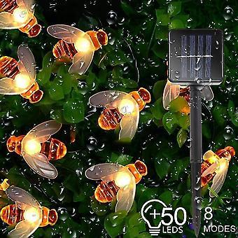 Landscape pathway lighting led solar garden lights waterproof outdoor honey bee fairy string lights