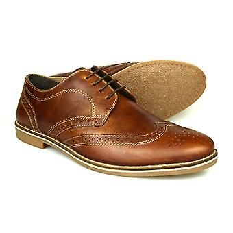 Red Tape Checkley Mens Brown Leather Gibson Brogues