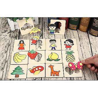 48 Pcs Kits de moules de peinture en bois pour enfants, modèles de peinture et kits de découpe avec différents animaux