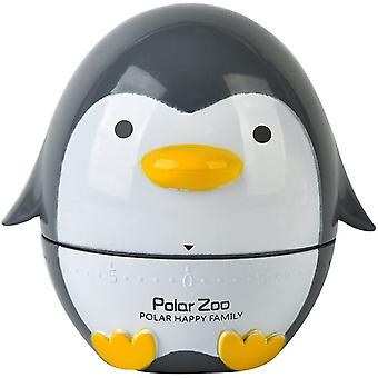 Cute Cartoon Penguin Timers 60 Minutes Mechanical Kitchen Cooking Timer Clock Loud Alarm Counters Mini Size Manual Timer (black)