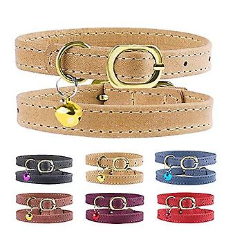 Murom Cat Collar Adjustable Soft Genuine Leather Pet Collars For Cats Kitten Puppy Small Dogs (red)