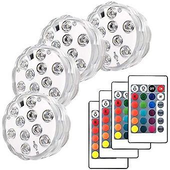 Ferngesteuertes LED-Schwimmbad, 4 Sätze Unterwasserbrunnen, Aquarium Tauch-LEDs, Spas, Teiche, Pools, Sockel, Vasen, Gärten, Hochzeiten, Fe
