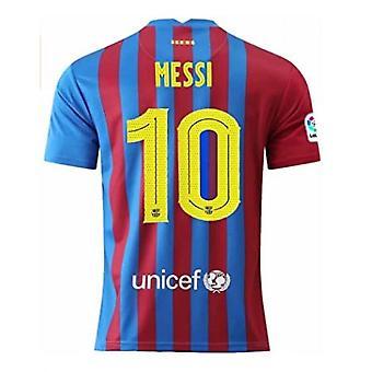 Tricou de fotbal masculin 2021-2022 Noul sezon Messi #10 Mens Barcelona Acasă Fotbal tricouri Jersey Culoare roșu / albastru