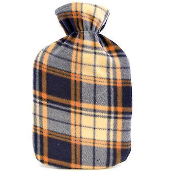Kinderen kwaliteit zachte Check patroon Fleece gedekt natuurrubber Hot Water Bottle