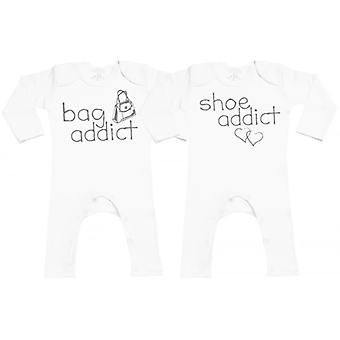 Verwend rotte tas & Shoe Addict Baby leggings Romper Twins Set